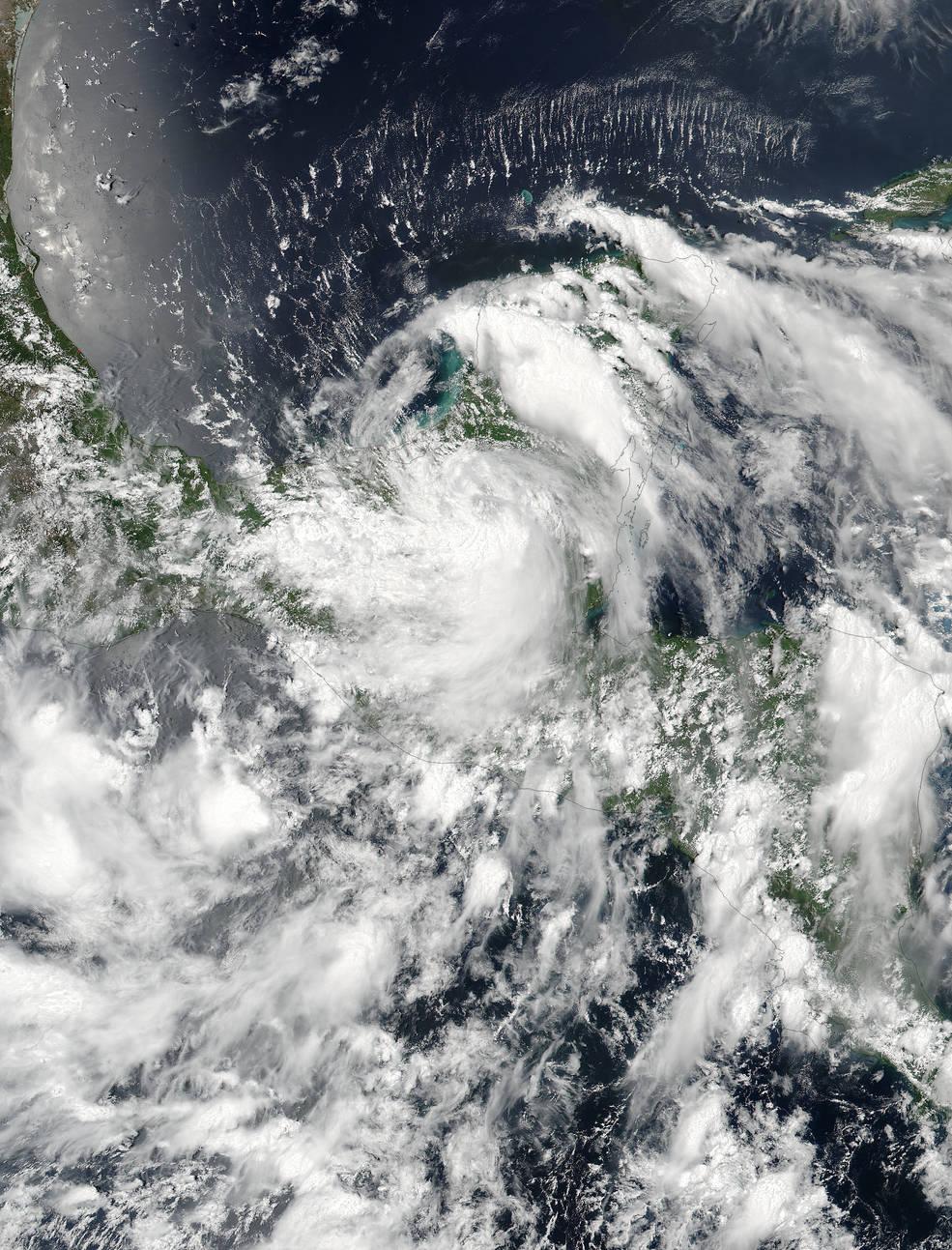 Tropical Storm Earl over Yucatan Peninsula