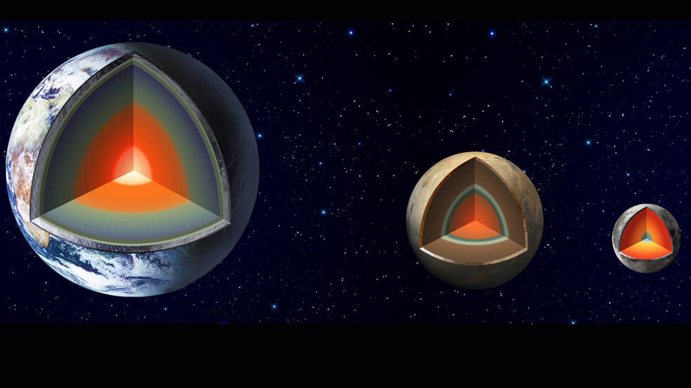 Artist's impression shows the major interior layers of Earth, Mars and the Moon.