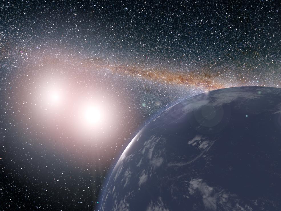 Planet kredser om dobbeltstjerne
