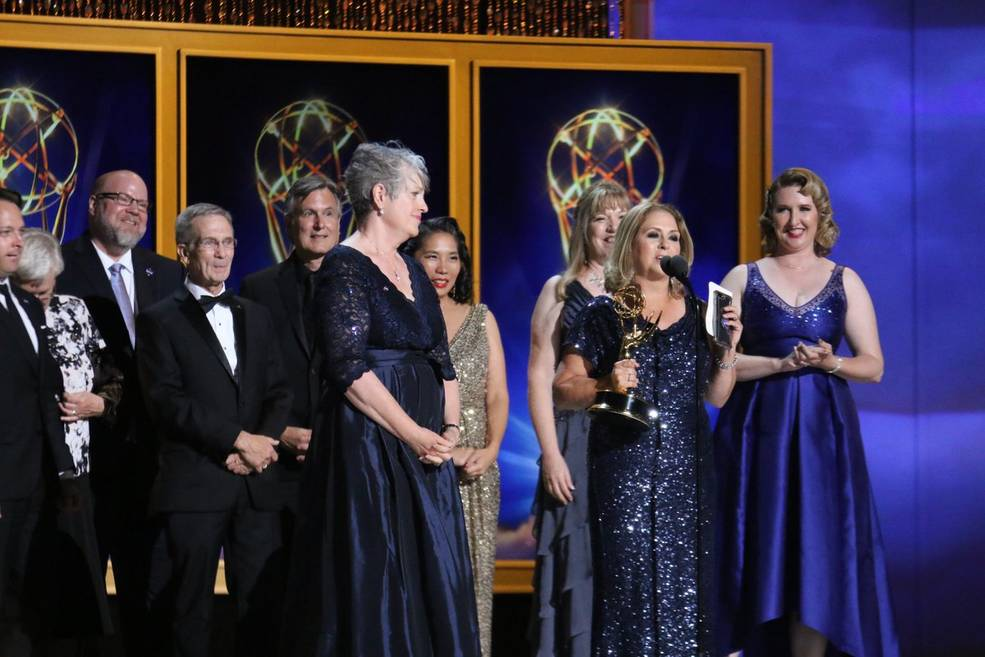Members of the JPL Media Relations and Public Engagement offices, and leaders of the Cassini Mission received an Emmy