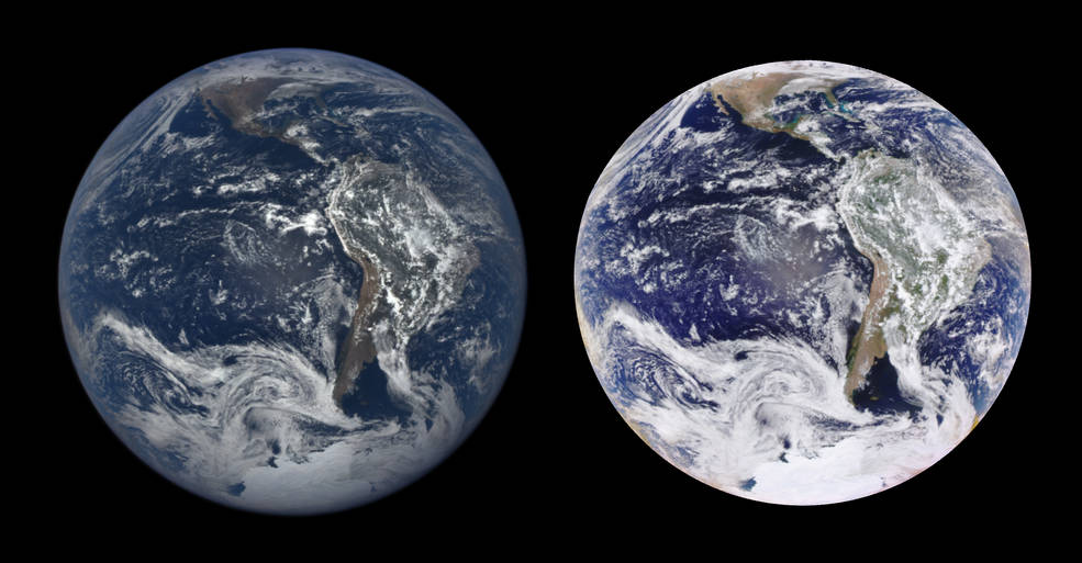 side-by-side images of Earth