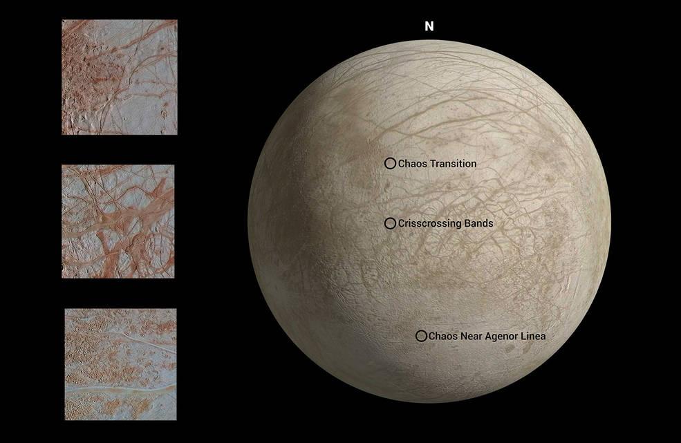 La mappa mostra le posizioni in cui ogni immagine è stata catturata da Galileo