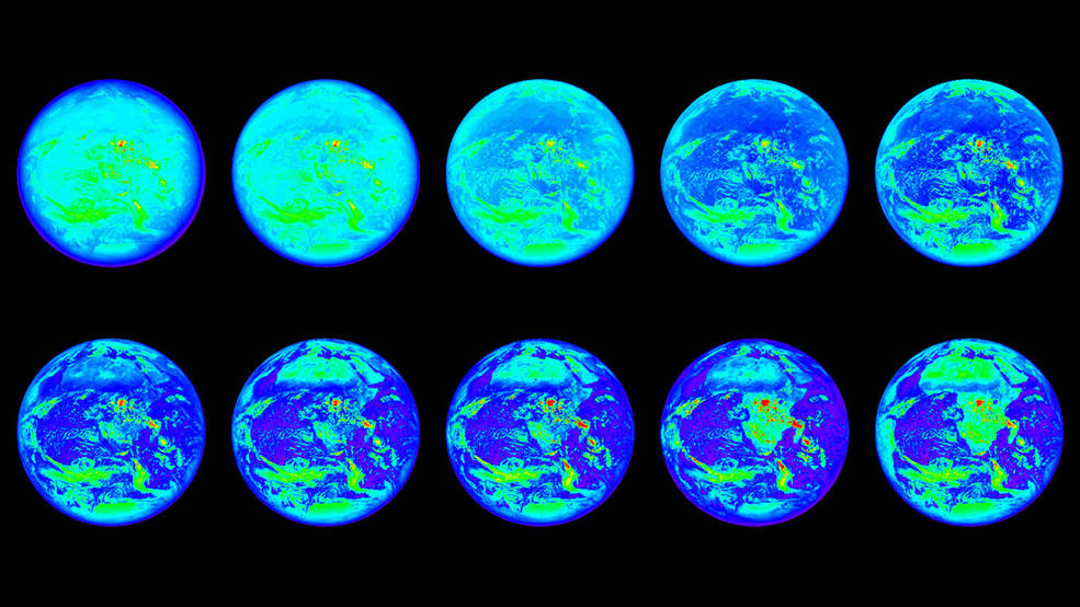 These images show the sunlit side of Earth in 10 different wavelengths of light