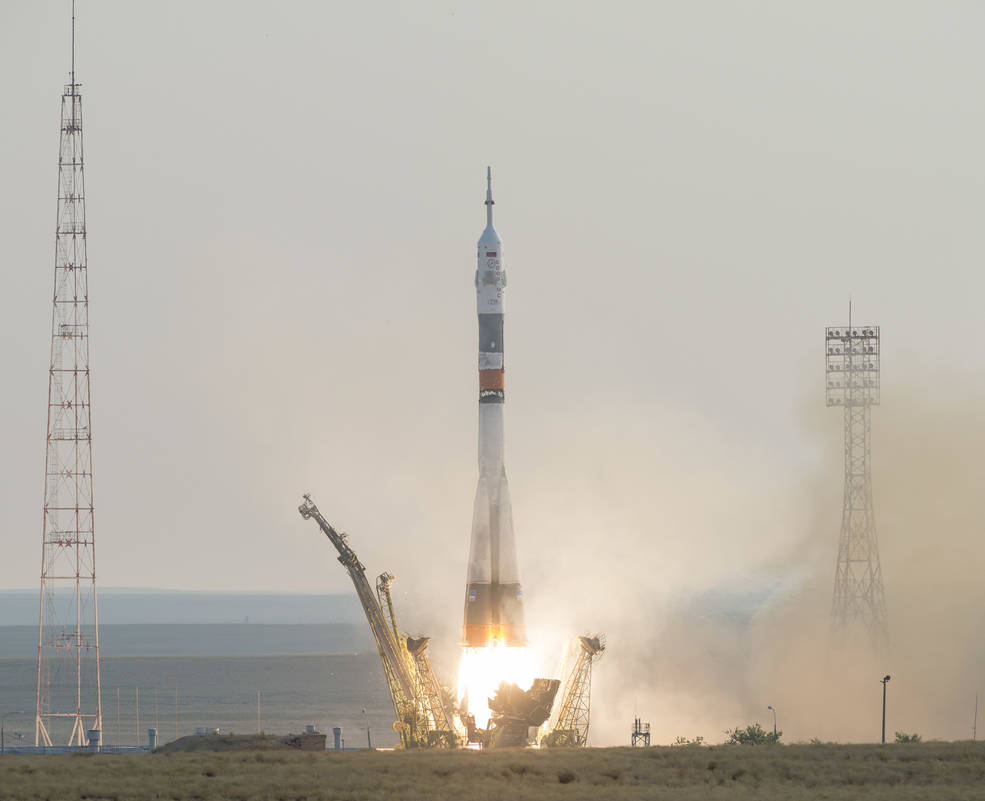 The Soyuz MS-01 spacecraft launches from the Baikonur Cosmodrome in Kazakhstan at 9:36 p.m. EDT Wednesday, July 6, 2016.