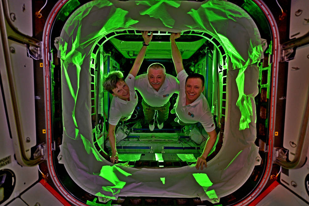 Expedition 52's Peggy Whitson of NASA, Fyodor Yurchikhin of Roscosmos and Jack Fischer of NASA