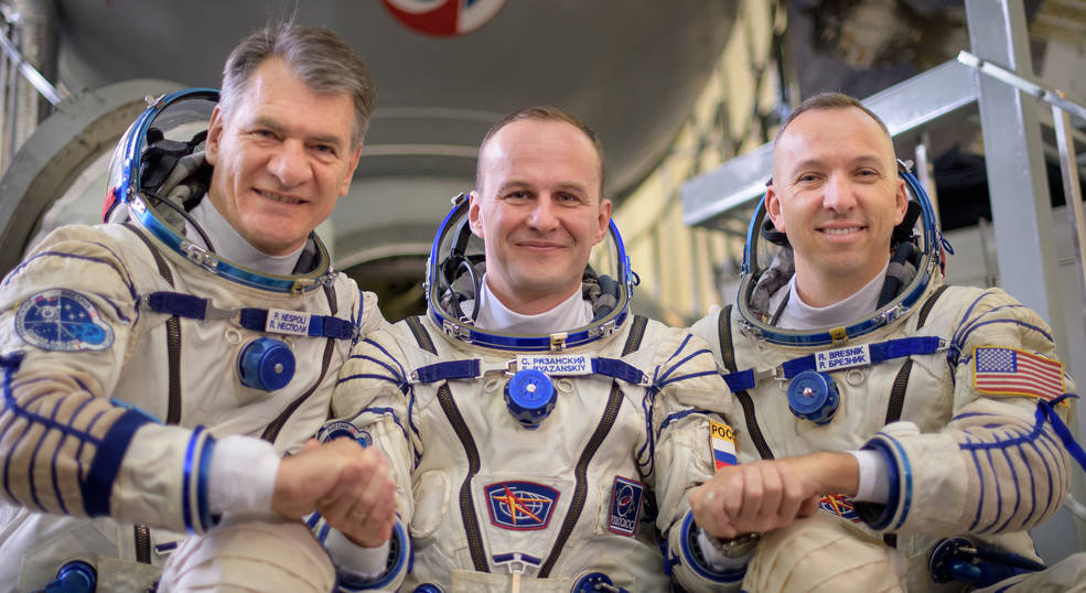 Expedition 52 flight engineers Paolo Nespoli of ESA, left, Sergey Ryazanskiy of Roscosmos, and Randy Bresnik of NASA