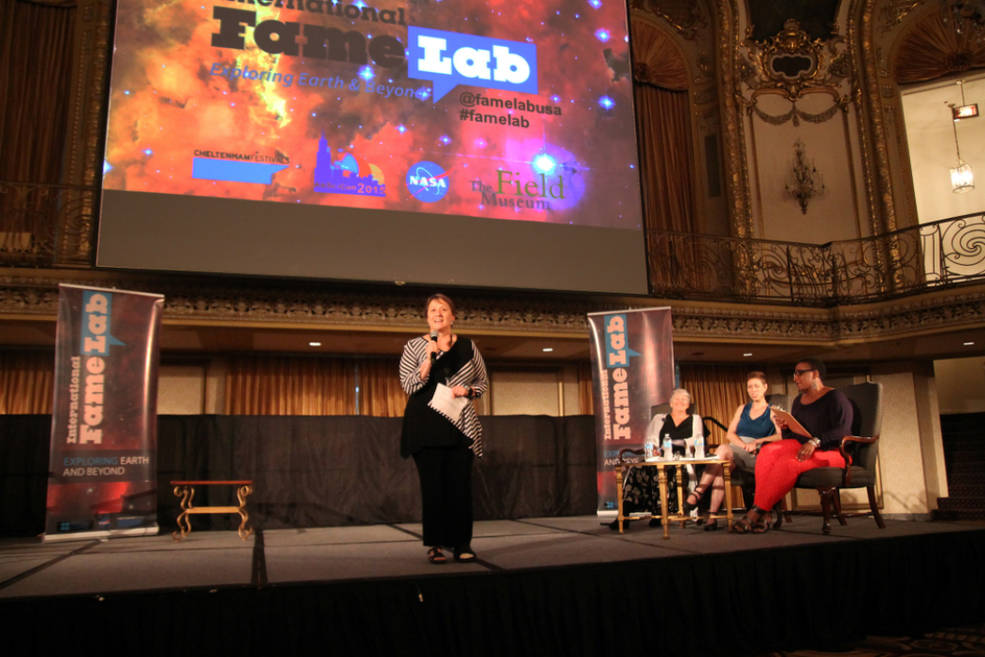 Mary Voytek, an astrobiology program scientist for at NASA, opened the 2015 AbSciCon Regional Heat of FameLab USA