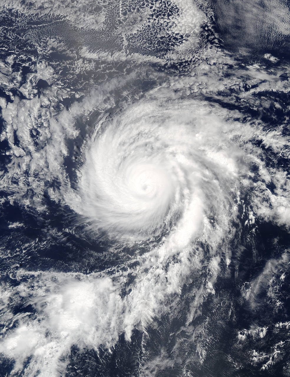 satellite view of hurricane over ocean