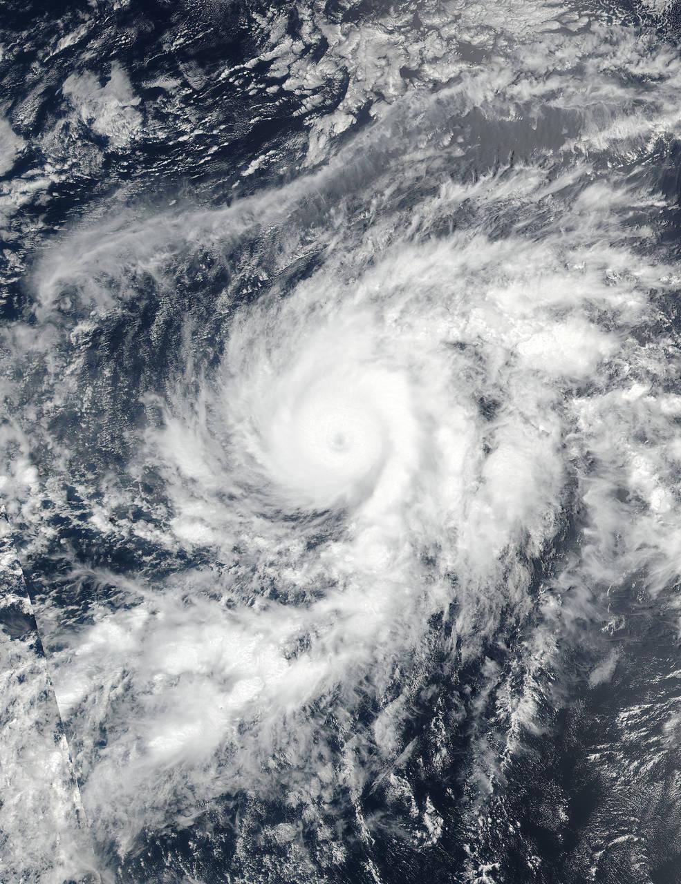 satellite view of hurricane over ocean