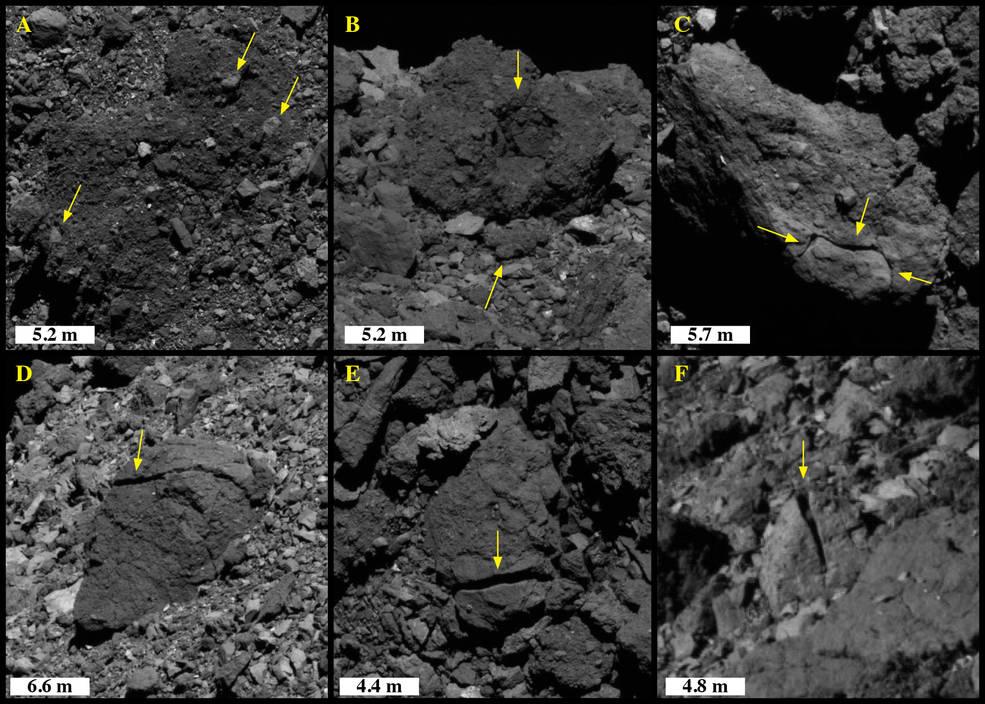 Revnede klipper på asteroiden Bennu