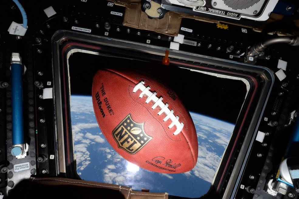 Football floats aboard the space station