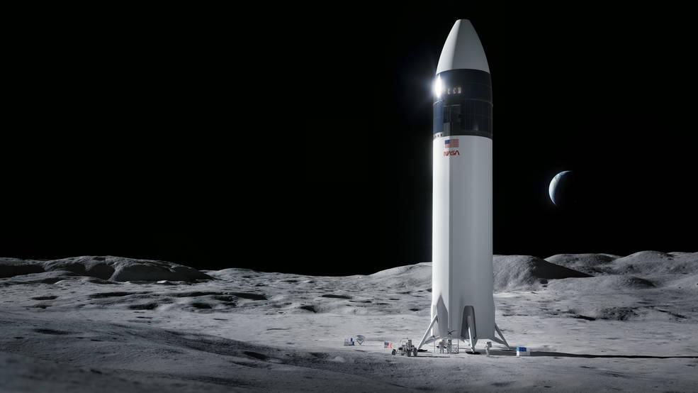 Starship, na povrchu Měsíce