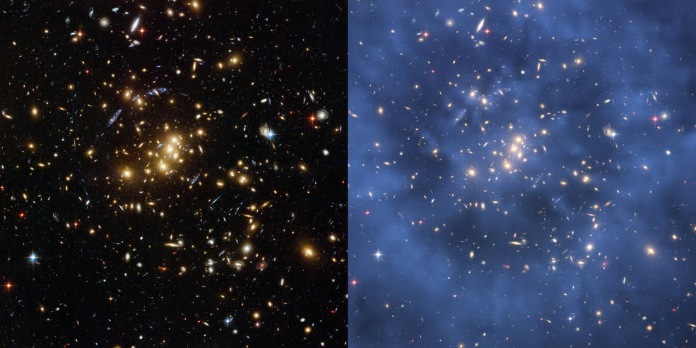two Hubble images of galaxy cluster Cl 0024+17 (ZwCl 0024+1652), with right image shaded to illustrate dark matter