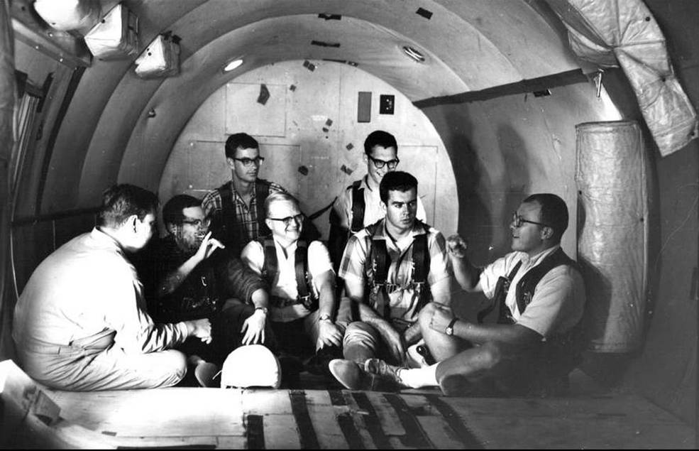 Study participants chat in the zero-g aircraft that flew out of Naval Air Station in Pensacola, Fla.