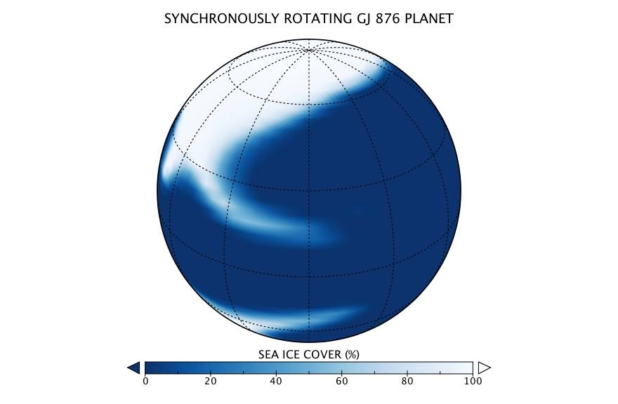 Diagram of sea ice distribution on ocean exoplanet