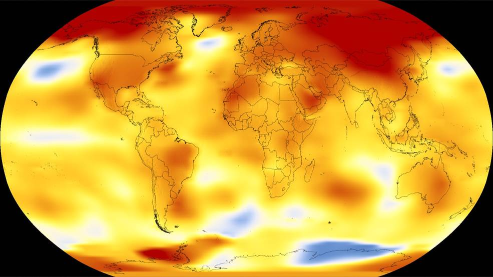 Shown here are 2017 global temperature data: higher than normal temperatures are shown in red, lower than normal temps in blue
