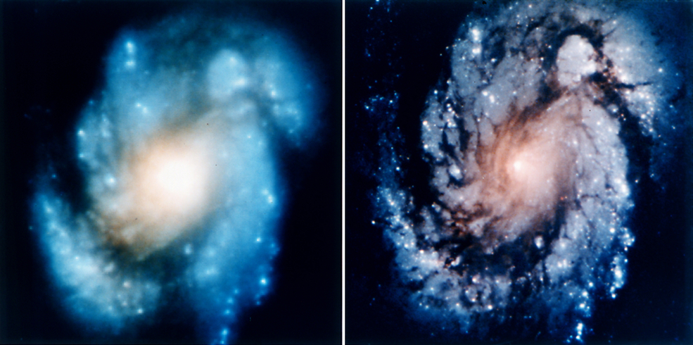 blurry and clear images of galaxy