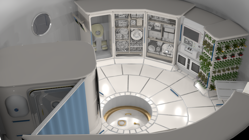 Illustration of the interior of a deep space habitat