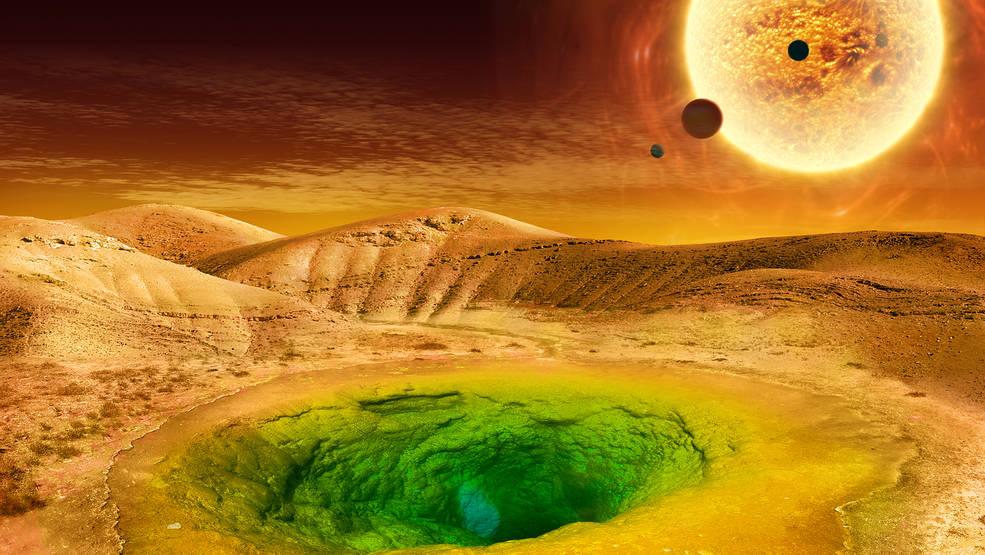 Illustration of exoplanet in habitable zone