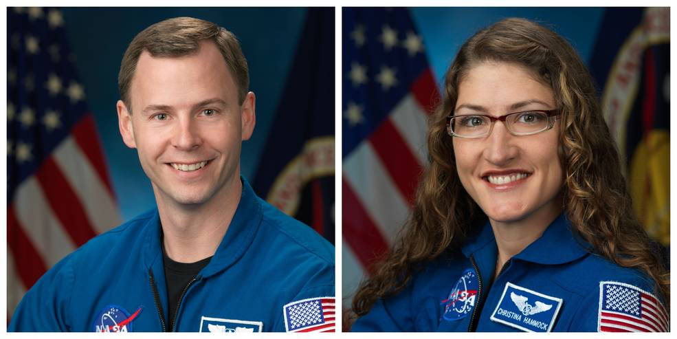 NASA astronauts Nick Hague (left) and Christina Hammock Koch (right) are scheduled to launch to ISS Feb. 28, 2019.