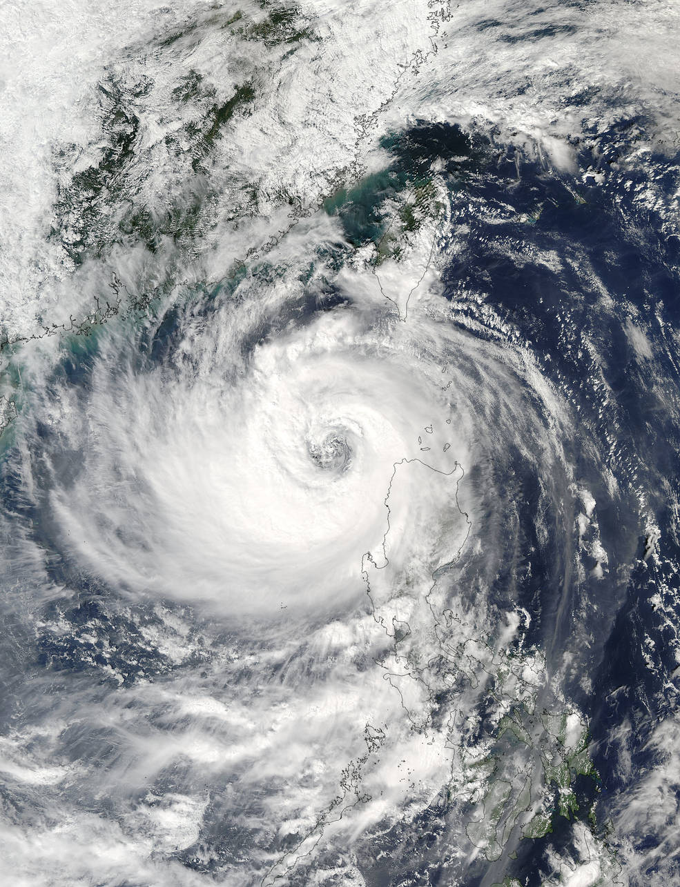 satellite view of tropical storm over ocean