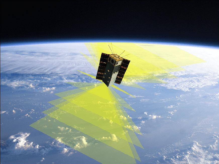satellite orbiting Earth with fields of view visualized in yellow