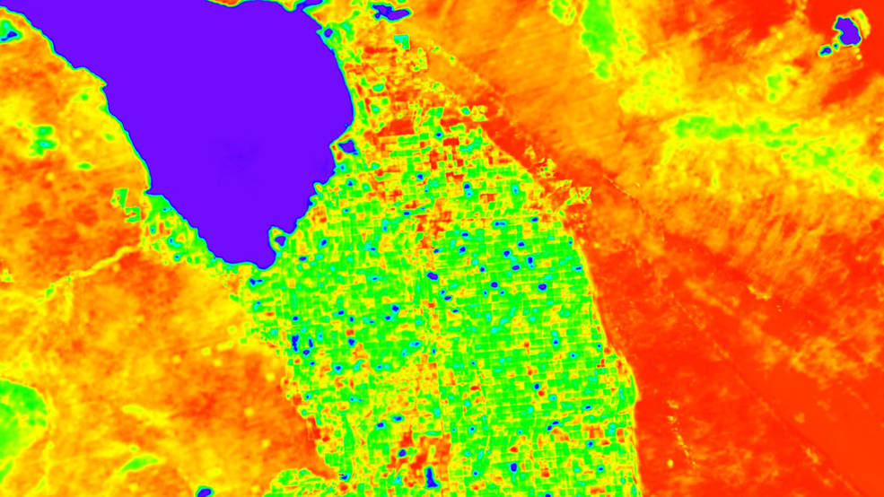 A simulation of ECOSTRESS land surface temperature data