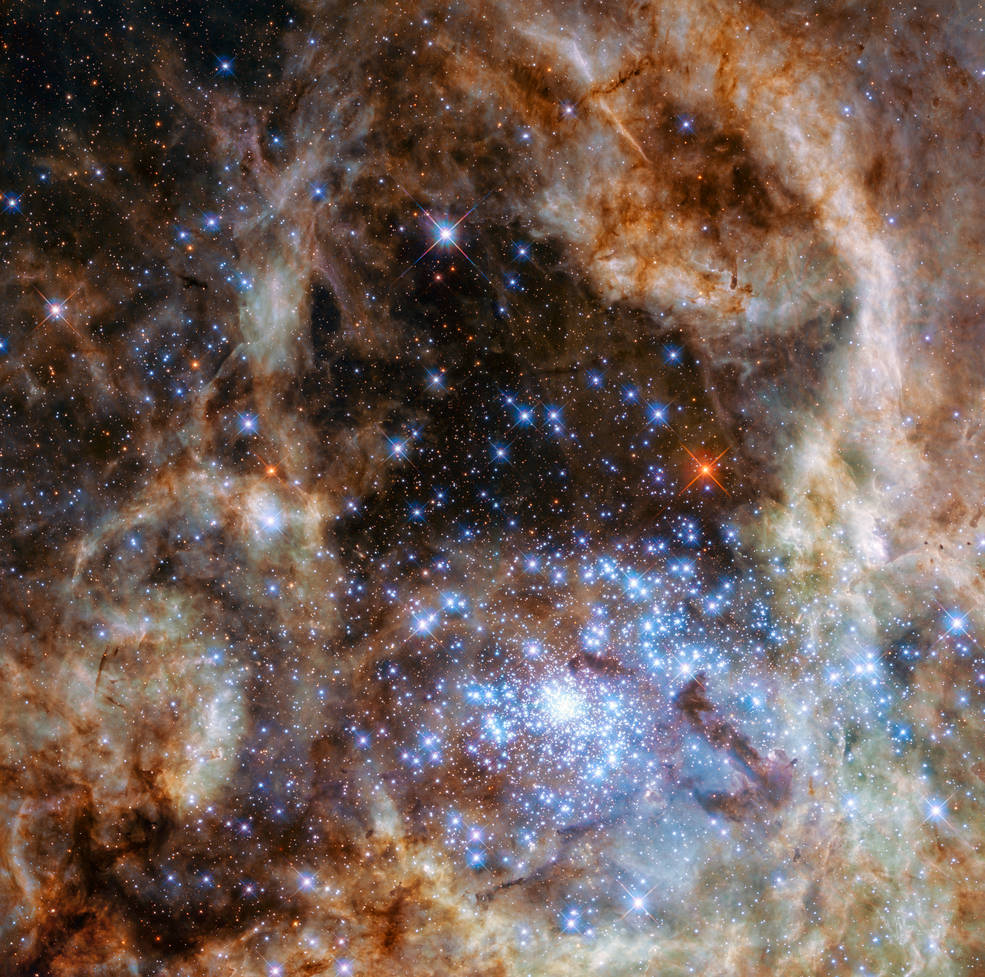 This Hubble image shows the central region of the Tarantula Nebula in the Large Magellanic Cloud