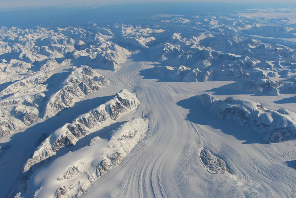 aerial photo of Heimdal Glacier in southern Greenland