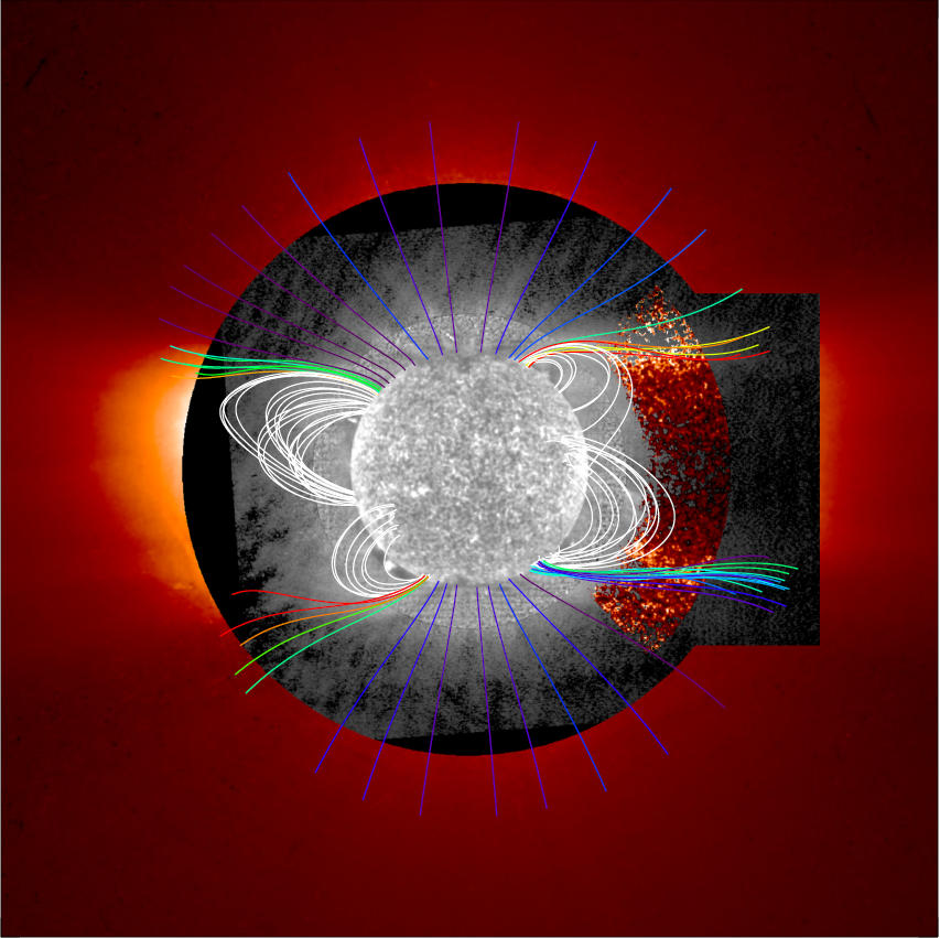 gray-hued Sun at center, with tendrils of magnetic field lines colorized; helium concentrations enhanced in stronger color