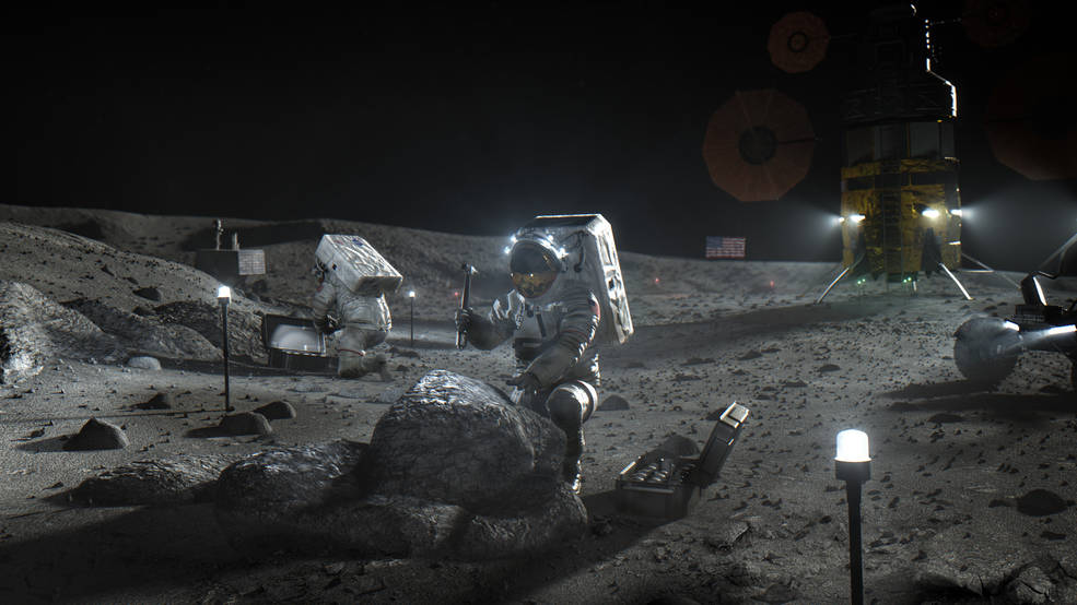 Illustration of Artemis astronauts on the Moon.