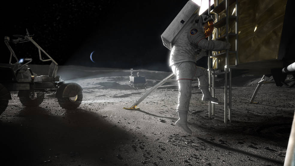 Artist concept of Artemis astronaut stepping onto the Moon.