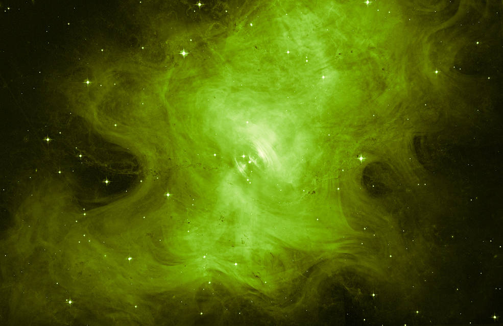 wispy green swirling through space