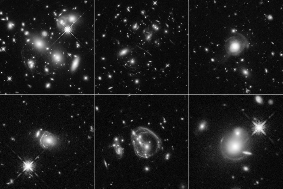 six images full of galaxies