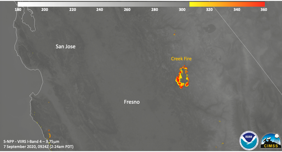 Image of the Creek Fire using the VIIRS Active Fire product showing the outline of the Creek Fire.