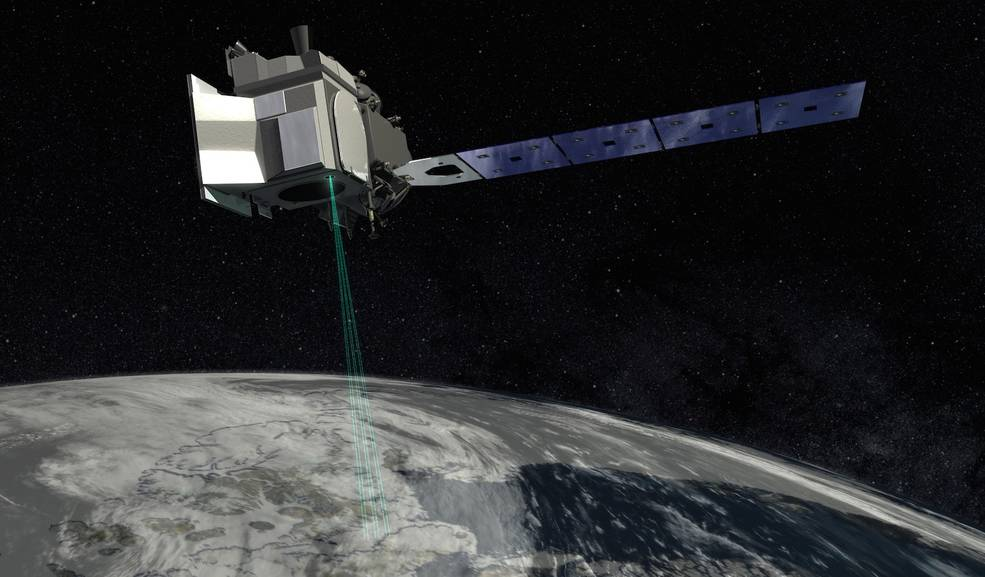 An artist illustration of NASA's ICESat-2 satellite above Earth.