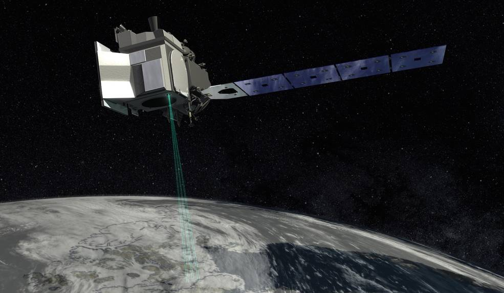 Artist rendition of the ICEsat-2 satellite
