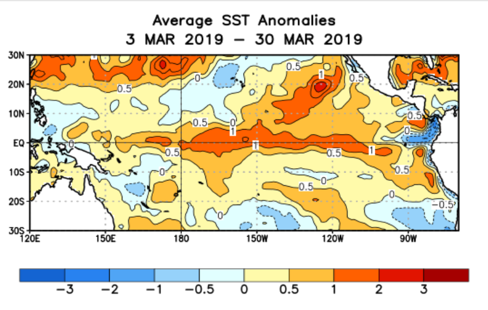 This map shows sea surface temperature (SST) anomalies for the Pacific Basin