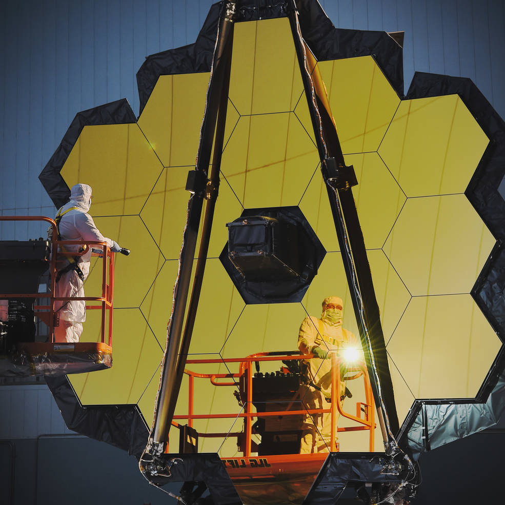 """Engineers conduct a """"Center of Curvature"""" test on NASA's James Webb Space Telescope."""