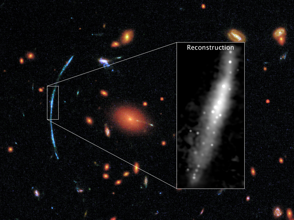graphic showing blowup of a lensed galaxy