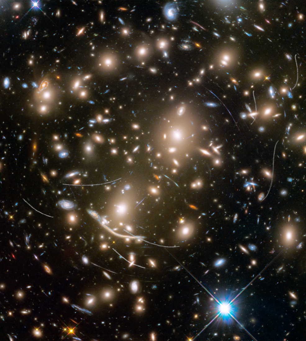 galaxies with lensing and scratch marks