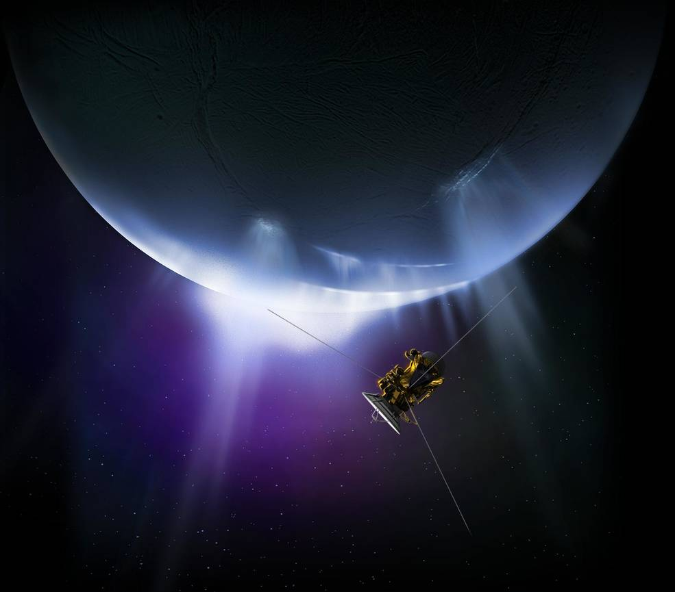 Artist's concept of Cassini and Enceladus