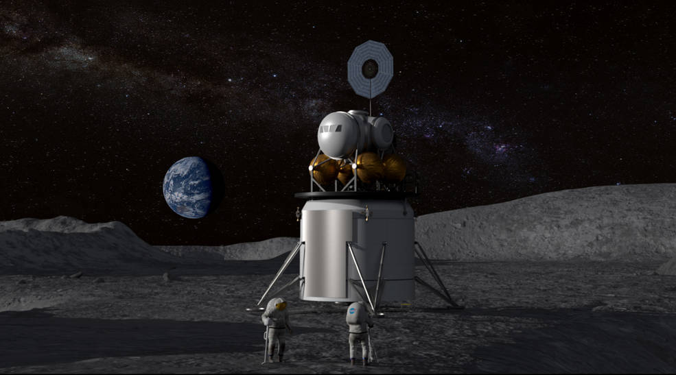 Illustration of a human landing system and crew on the lunar surface with Earth near the horizon.