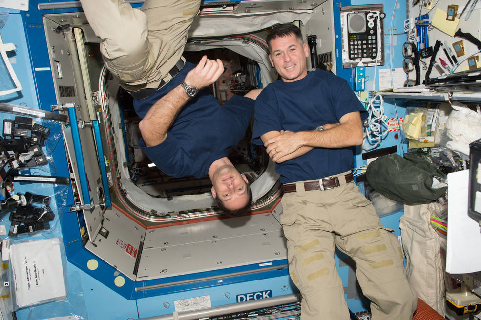 Expedition 66 crewmembers Thomas Pesquet of ESA (European Space Agency) and Shane Kimbrough of NASA  - iss050e011129 - Texas Students to Hear from Astronauts on International Space Station