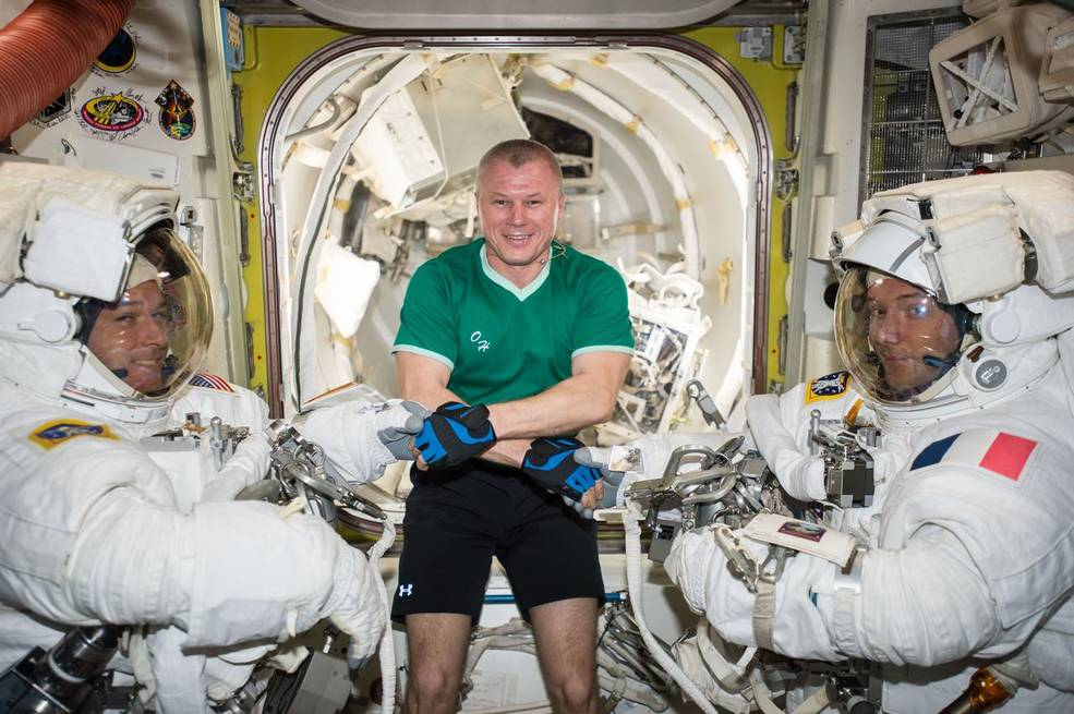 Russian cosmonaut Oleg Novitskiy (middle) poses with Expedition 50 Commander Shane Kimbrough of NASA (left) and Flight Engineer Thomas Pesquet of ESA (European Space Agency) (right) prior to their spacewalk March 24, 2017.