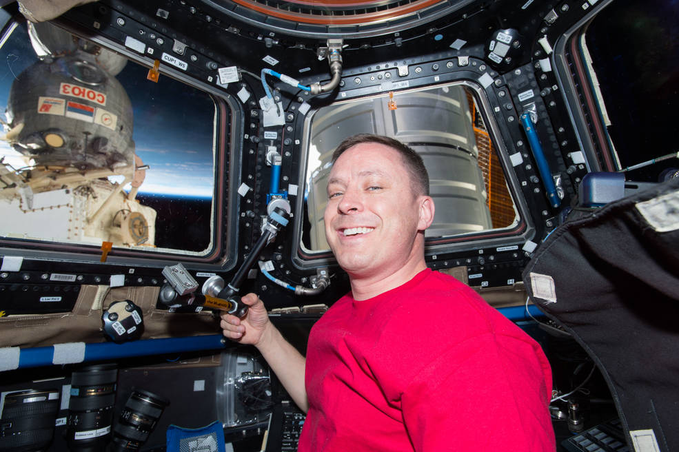 NASA astronaut Jack Fischer and the Soyuz and Cygnus Spaceships