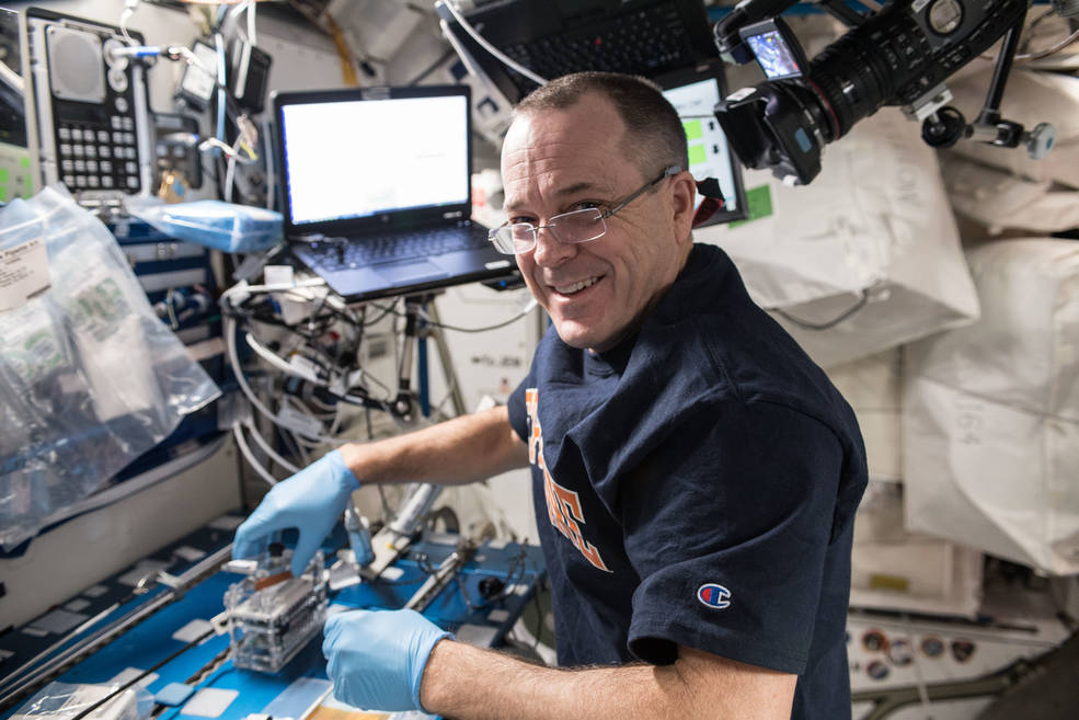 NASA astronaut Ricky Arnold processes microbial DNA