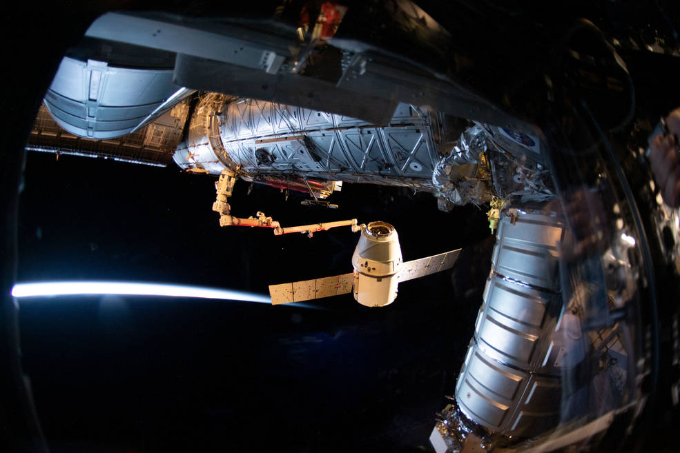 The SpaceX Dragon cargo craft on its 17th contracted mission to resupply mission to the International Space Station