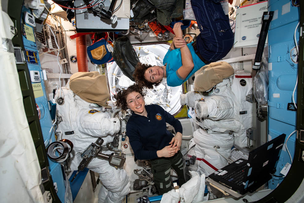 Expedition 61 Flight Engineers Christina Koch and Jessica Meir