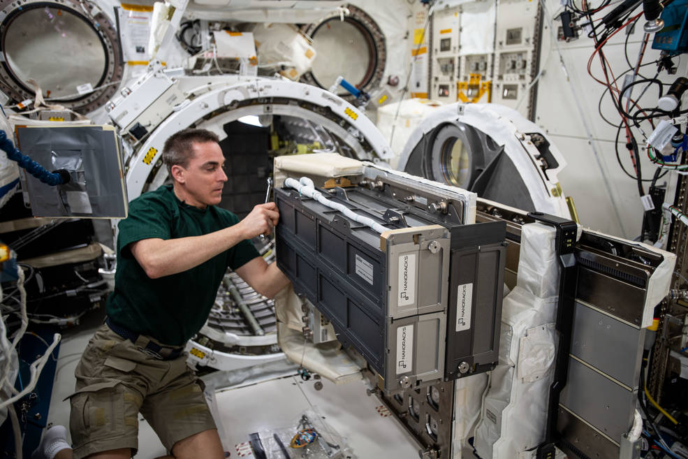 Expedition 63 Commander Chris Cassidy completing NanoRacks CubeSat Deployer Installation on the JEM Airlock